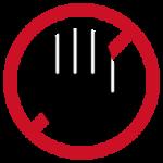禁止を意味する手のアイコンイラスト(赤)