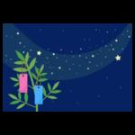 七夕の天の川と笹のイラスト