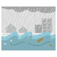 川の氾濫のイラスト