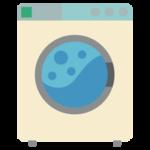 コインランドリーの洗濯機のイラスト(使用中・レトロ)