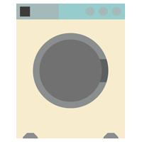 コインランドリーの洗濯機のイラスト(空・レトロ)