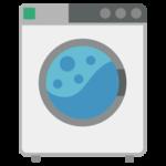 コインランドリーの洗濯機のイラスト(使用中・シンプル)