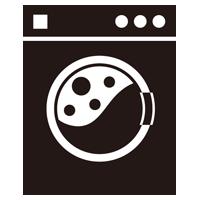 コインランドリーの洗濯機のイラスト(使用中・黒)