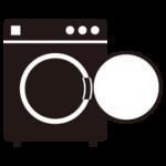 コインランドリーの洗濯機のイラスト(空・黒)