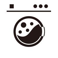 コインランドリーの洗濯機のイラスト(使用中・白)