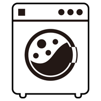 コインランドリーの洗濯機のイラスト(使用中・白・枠線)
