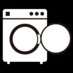 コインランドリーの洗濯機のイラスト(空・白・枠線)