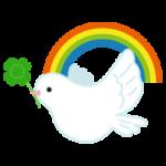 平和の象徴の鳩のイラスト(虹)