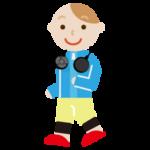 ハンズフリー扇風機をつけてウォーキングする若い男性のイラスト