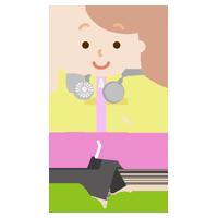 ハンズフリー扇風機をつけてウォーキングする若い女性のイラスト