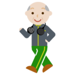 ハンズフリー扇風機をつけてウォーキングする高齢者の男性のイラスト