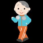 ハンズフリー扇風機をつけてウォーキングする高齢者の女性のイラスト