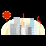 真夏の高層ビル群のイラスト