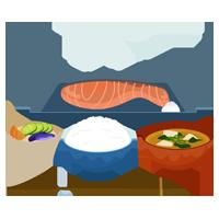 焼き鮭定食のイラスト2