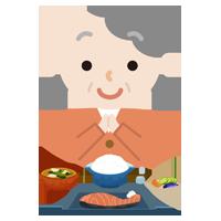 高齢者の女性が焼き鮭定食を食べるイラスト1