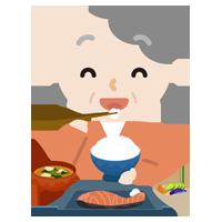 高齢者の女性が焼き鮭定食を食べるイラスト2