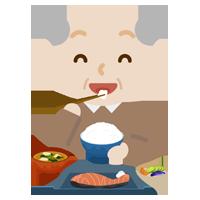 高齢者の男性が焼き鮭定食を食べるイラスト2