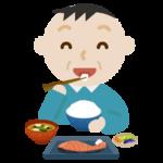 中年の男性が焼き鮭定食を食べるイラスト2