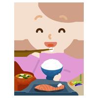 若い女性がが焼き鮭定食を食べるイラスト2