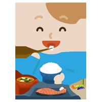 若い男性が焼き鮭定食を食べるイラスト2