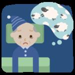 不眠症の高齢者の男性のイラスト2