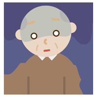 落ち込む高齢者の男性のイラスト