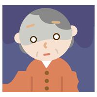 落ち込む高齢者の女性のイラスト