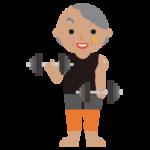 マッチョの高齢者の女性のイラスト(ダンベル)