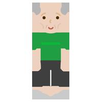 痩せ型の高齢者の男性のイラスト