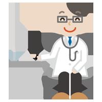 若い男性の医者のイラスト(診察・笑顔)