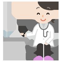 若い女性の医者のイラスト(診察・笑顔)