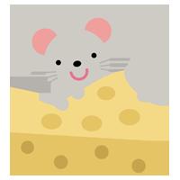ネズミとチーズのイラスト(干支)