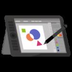 液晶タブレットとペンのイラスト(アプリ画面)