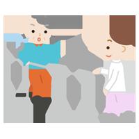 平行棒で歩行のリハビリをする高齢者の女性と作業療法士のイラスト