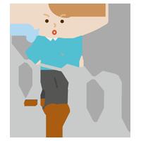 平行棒で歩行のリハビリをする若い男性のイラスト