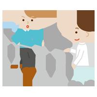 平行棒で歩行のリハビリをする若い男性と作業療法士のイラスト