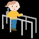 平行棒で歩行のリハビリをする若い女性のイラスト