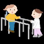 平行棒で歩行のリハビリをする若い女性と作業療法士のイラスト