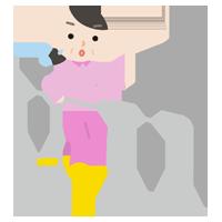 平行棒で歩行のリハビリをする中年の女性のイラスト