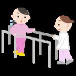 平行棒で歩行のリハビリをする中年の女性と作業療法士のイラスト