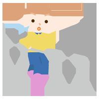 平行棒で歩行のリハビリをする女の子のイラスト