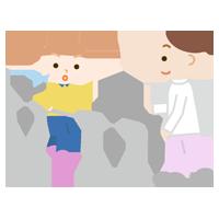 平行棒で歩行のリハビリをする女の子と作業療法士のイラスト
