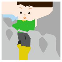 平行棒で歩行のリハビリをする男の子のイラスト