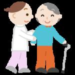 歩行訓練をする高齢者の女性のイラスト