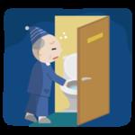 トイレに行く高齢者の男性のイラスト2