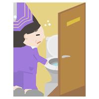 トイレに行く中年の女性のイラスト1