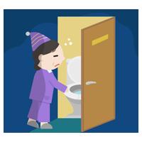 トイレに行く中年の女性のイラスト2