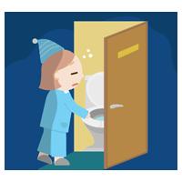 トイレに行く若い女性のイラスト2