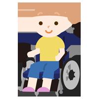 車椅子に座る女の子のイラスト