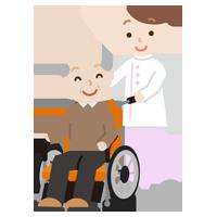 車椅子の高齢者の男性と介護士のイラスト